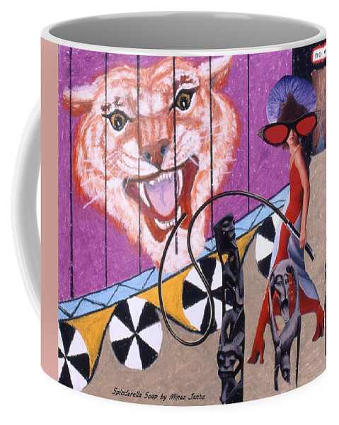 Tiger Coffee Mug featuring the drawing Soap Scene #15 Tiger in a Cage by Minaz Jantz