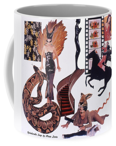 Boa Coffee Mug featuring the drawing Soap Scene #22 Lust In The Wind by Minaz Jantz