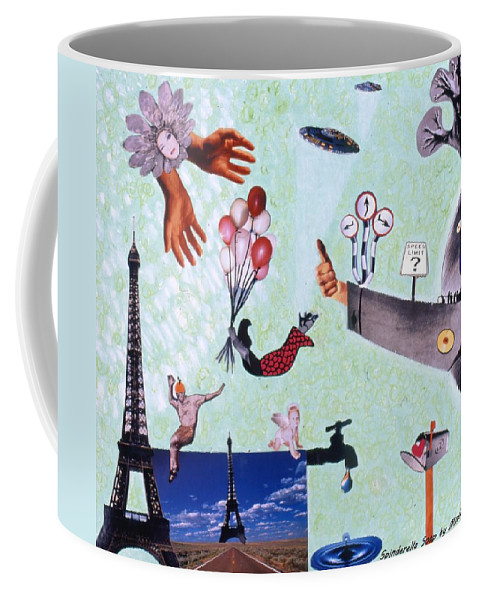 Eiffel Tower Coffee Mug featuring the drawing Soap Scene #27 Zelestial Headquarters by Minaz Jantz
