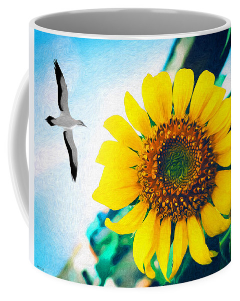 Sunflower Coffee Mug featuring the photograph Soaring Bird Sunflower by Phil Perkins