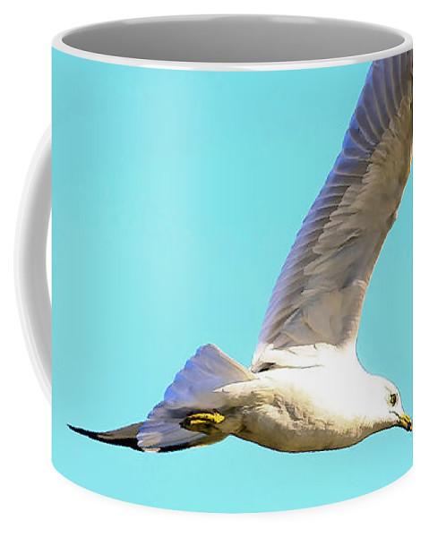 Bird Coffee Mug featuring the photograph Soaring In A Blue Sky by Deborah Benoit
