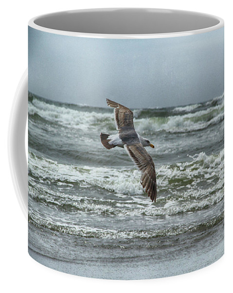Beach Coffee Mug featuring the photograph Soaring On Long Island by Marie Leslie