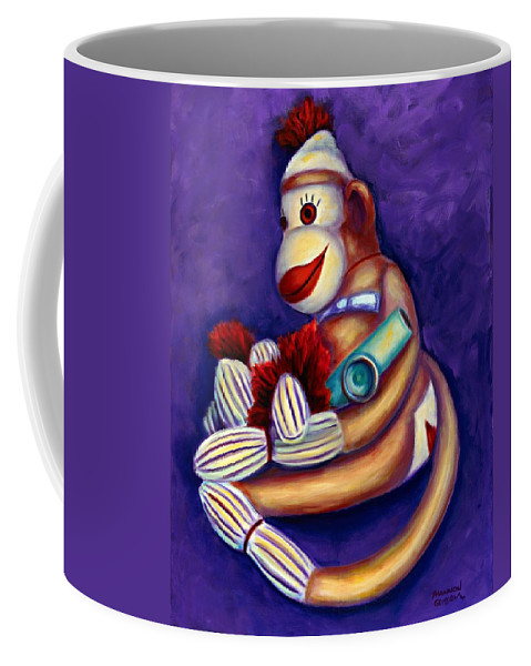 Children Coffee Mug featuring the painting Sock Monkey With Kazoo by Shannon Grissom