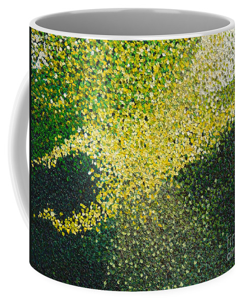 Abstract Coffee Mug featuring the painting Soft Green Light by Dean Triolo