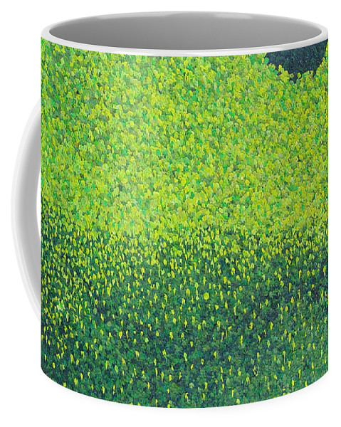 Abstract Coffee Mug featuring the painting Soft Green Wet Trees by Dean Triolo