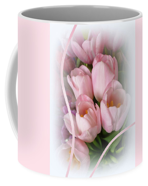 Tulips Coffee Mug featuring the photograph Soft Pink Tulips by Elaine Bawden