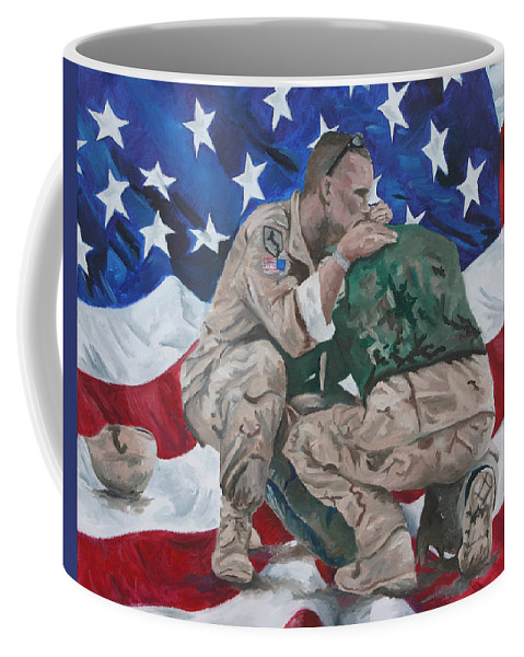 Soldiers Coffee Mug featuring the painting Soldiers by Travis Day