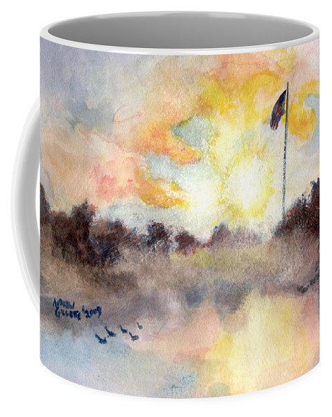 Ft Logan Coffee Mug featuring the painting Solemn Procession by Andrew Gillette