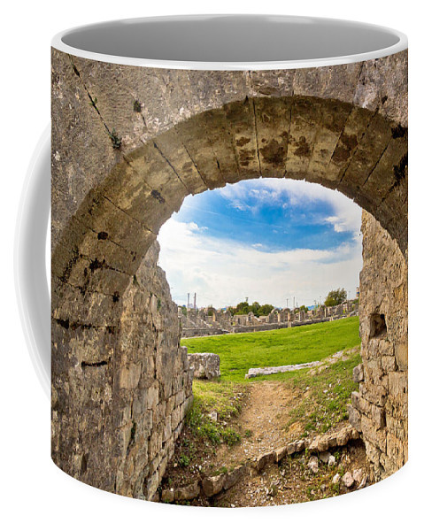 Croatia Coffee Mug featuring the photograph Solin Ancient Arena Old Ruins by Brch Photography