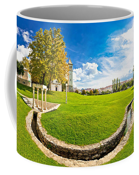 Panorama Coffee Mug featuring the photograph Solin Park And Church Panoramic View by Brch Photography