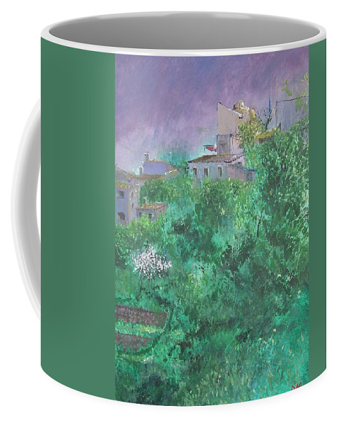 Impressionist Coffee Mug featuring the painting Solitary Almond Tree In Blossom Mallorcan Valley by Lizzy Forrester