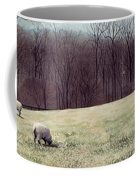 Sheep Coffee Mug featuring the painting Solitude by Denny Bond