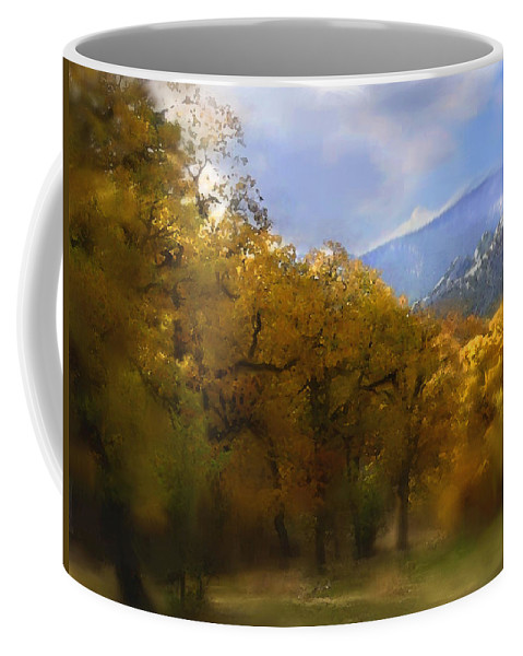 Autumn Coffee Mug featuring the digital art Solitude In Gold by Stephen Lucas