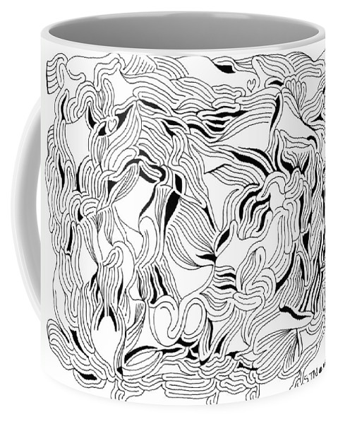 Mazes Coffee Mug featuring the drawing Solitude by Steven Natanson