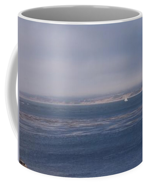 Sailing Outdoors Sail Ocean Monterey Bay Sea Seascape Boat Shoreline Sky Pacific Nature California Coffee Mug featuring the photograph Solo Sail In Monterey Bay by Pharris Art