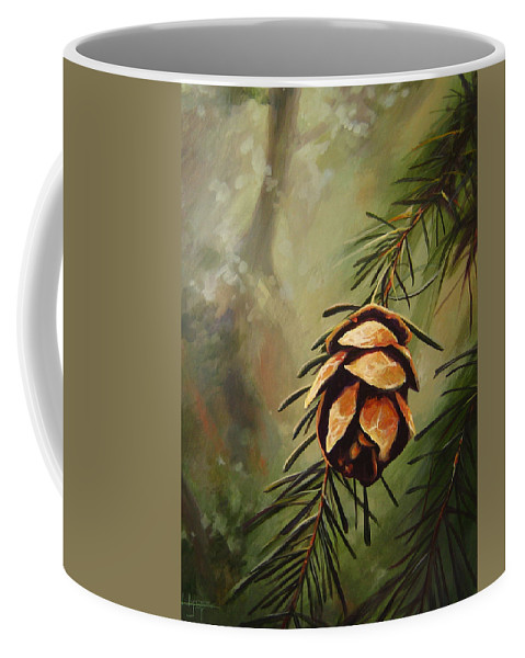 Closeup Of Spruce Cone Coffee Mug featuring the painting Solstice by Hunter Jay
