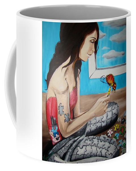 Blue Coffee Mug featuring the painting Solving The Puzzle by Meline Davalos