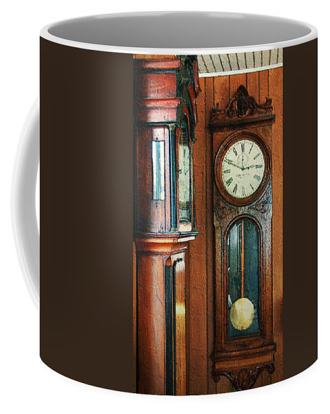Antiques Coffee Mug featuring the digital art Somebodys Grandfathers Clocks by RC DeWinter