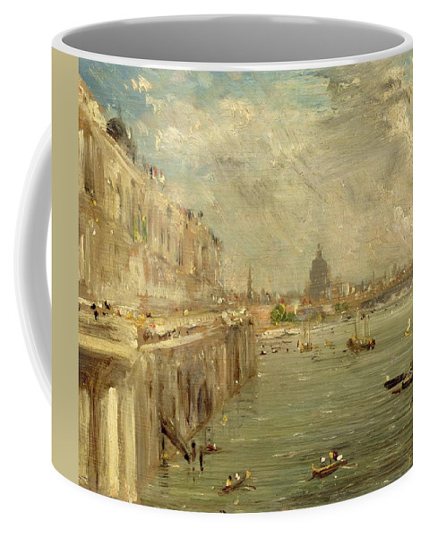 Somerset Coffee Mug featuring the painting Somerset House Terrace From Waterloo Bridge by John Constable