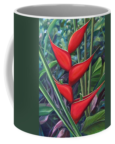 Heliconia Coffee Mug featuring the painting Something In Red by Hunter Jay