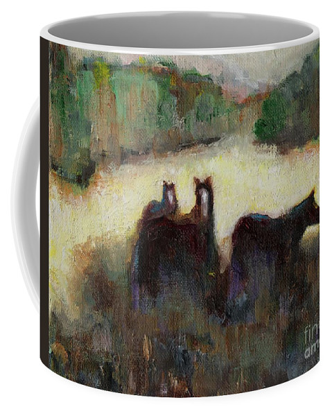 Horses Coffee Mug featuring the painting Sometimes We Need To Get Out Of The Heat by Frances Marino