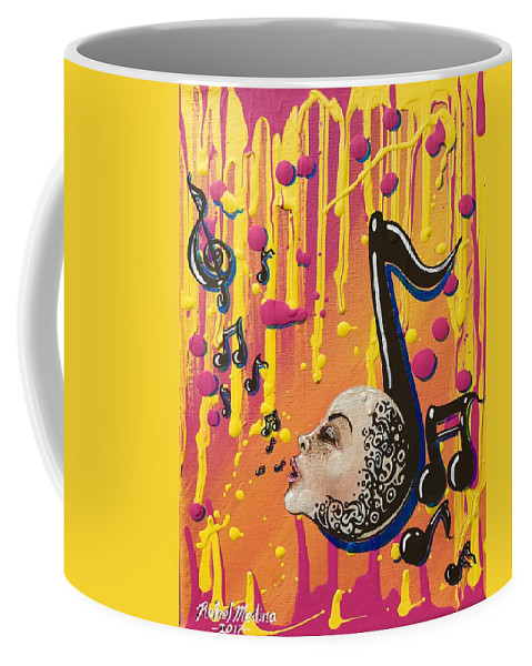 Colorful Canvas Art Painting Paint Colors Pink Blue Yellow Black Music Notes Sing Singing Song Drip Dreaming Dreams Faces Tribal Style Inspired Interesting Shadows Rafael Medina Love Happy Fun 2017 Coffee Mug featuring the painting Song Singing Song by Rafael Medina