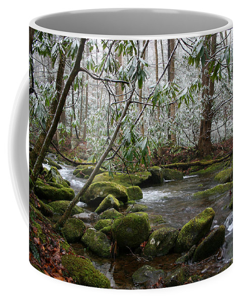 River Stream Creek Water Nature Rock Rocks Tree Trees Winter Snow Peaceful White Green Flowing Flow Coffee Mug featuring the photograph Soothing by Andrei Shliakhau