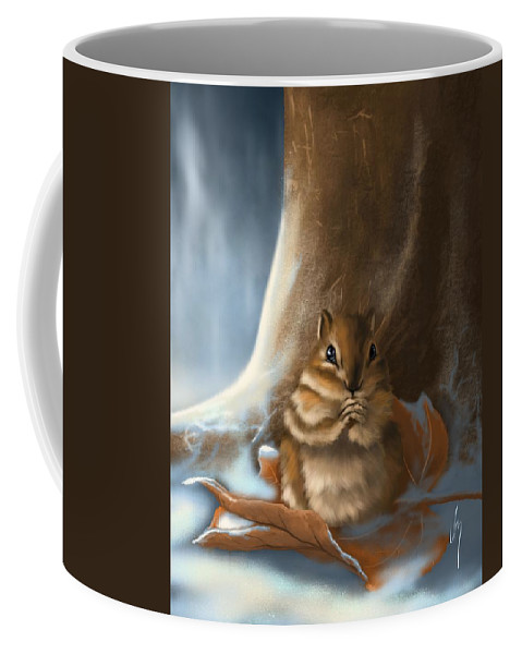 Squirrel Coffee Mug featuring the painting Sorry by Veronica Minozzi
