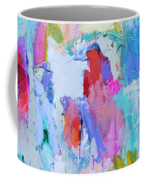 Abstract Coffee Mug featuring the painting Soul Feeling by Claire Desjardins