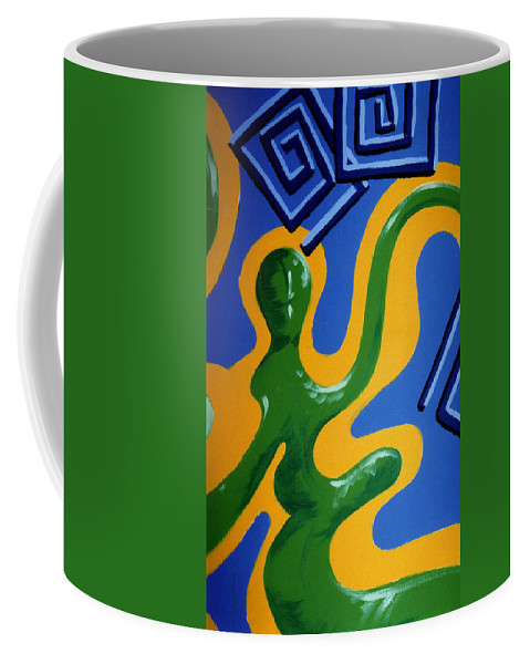 Abstract Coffee Mug featuring the painting Soul Figures 1 by Catt Kyriacou