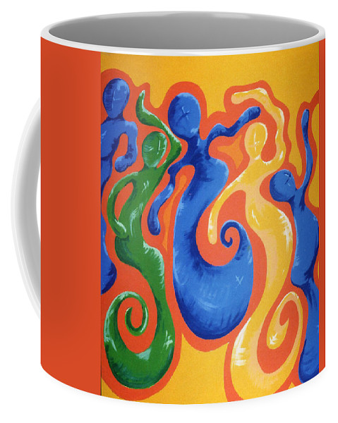 Coffee Mug featuring the painting Soul Figures 3 by Catt Kyriacou