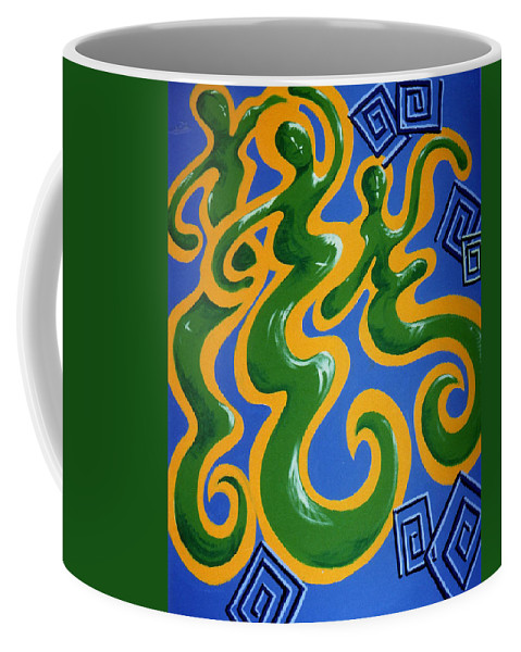 Cyprus Art Coffee Mug featuring the painting Soul Figures 4 by Catt Kyriacou