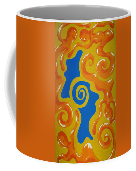 Cyprus Coffee Mug featuring the painting Soul Figures 5 by Catt Kyriacou