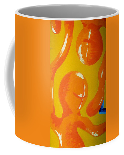 Coffee Mug featuring the painting Soul Figures 6 by Catt Kyriacou