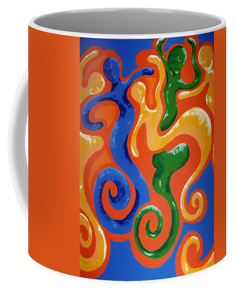 Coffee Mug featuring the painting Soul Figures 7 by Catt Kyriacou