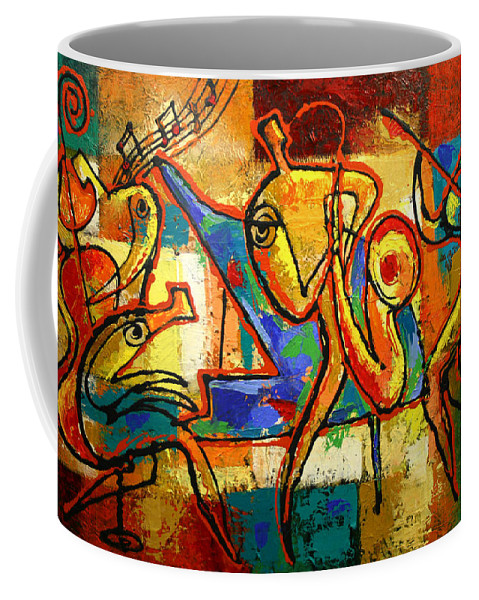 Jazz Painting Coffee Mug featuring the painting Soul Jazz by Leon Zernitsky