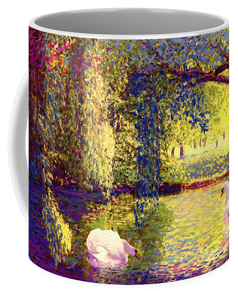 Landscape Coffee Mug featuring the painting Swans, Soul Mates by Jane Small