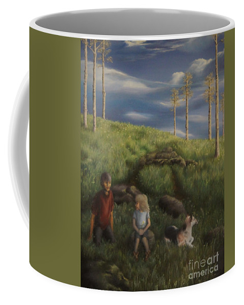 Children Coffee Mug featuring the painting Soul Mates by Nancy Dunham