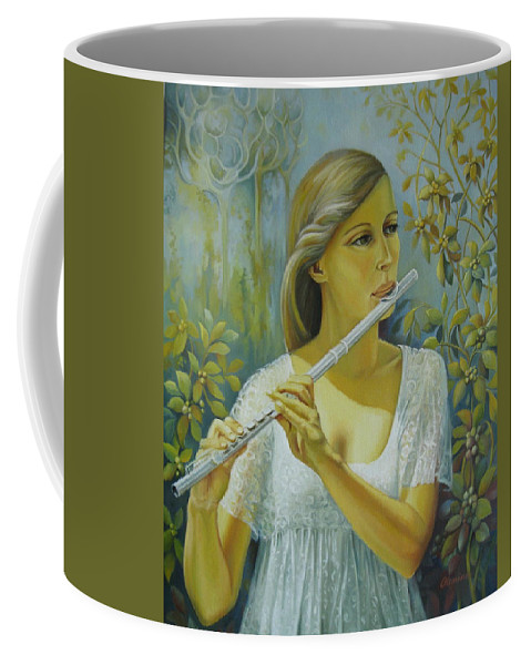 Portrait Coffee Mug featuring the painting Sound by Elena Oleniuc