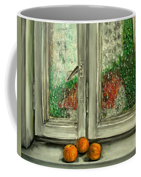 Rain Coffee Mug featuring the painting Sound Of Rain Oil Painting by Natalja Picugina