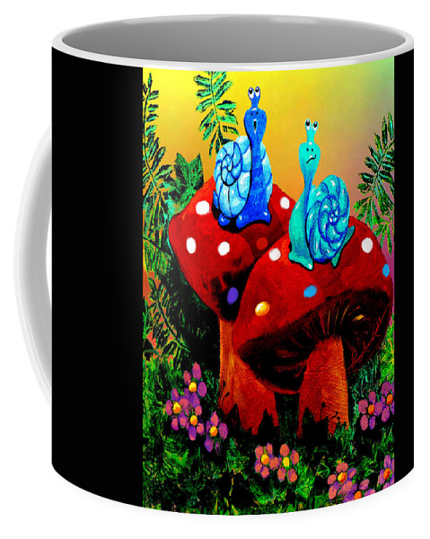 Preschool Wall Mural Coffee Mug featuring the painting Soupy Snails by Hanne Lore Koehler