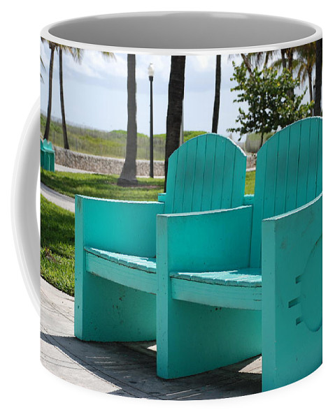 Art Deco Coffee Mug featuring the photograph South Beach Bench by Rob Hans