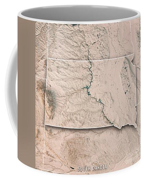 South Dakota Coffee Mug featuring the digital art South Dakota State Usa 3d Render Topographic Map Neutral Border by Frank Ramspott