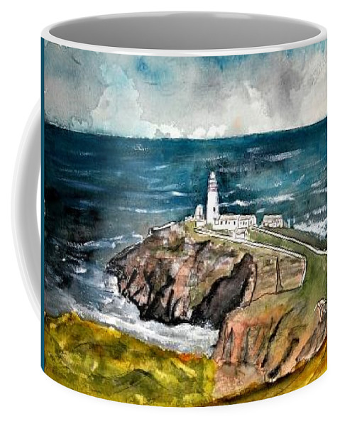 South Stack Lighthouse Coffee Mug featuring the painting South Stack Lighthouse by Derek Mccrea