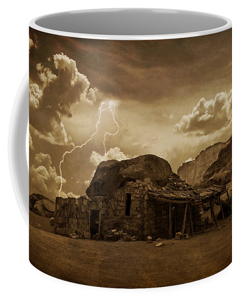 Southwest Coffee Mug featuring the photograph Southwest Navajo Rock House And Lightning by James BO Insogna