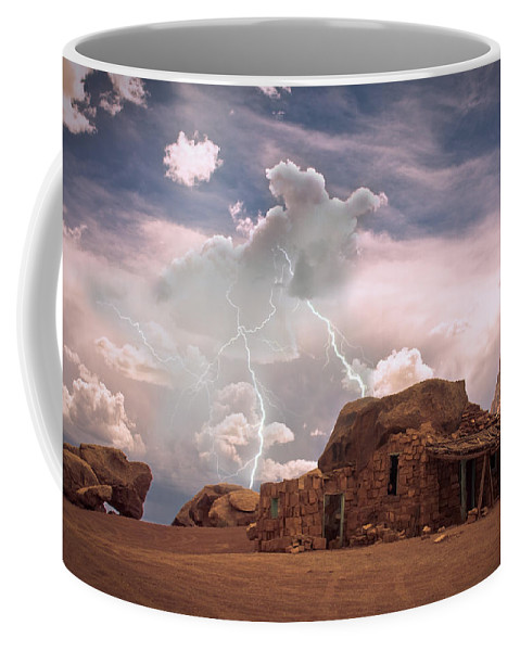 Lightning Strikes; Lightning; Nature; Landscapes; Southwest Desert; Rustic; Thunderstorms; Fine Art Coffee Mug featuring the photograph Southwest Navajo Rock House And Lightning Strikes by James BO Insogna