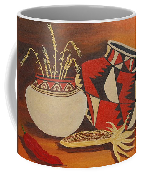 Still Life Coffee Mug featuring the painting Southwest Pottery by Ruth Housley