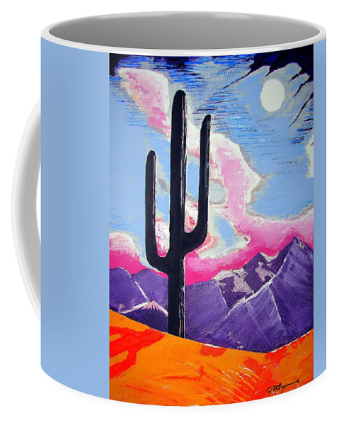 Cactus Coffee Mug featuring the painting Southwest Skies 2 by J R Seymour
