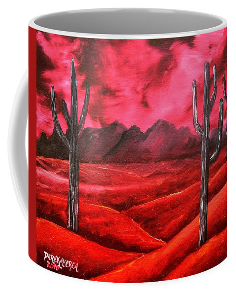 Red Coffee Mug featuring the painting Southwestern Abstract Oil Painting by Derek Mccrea