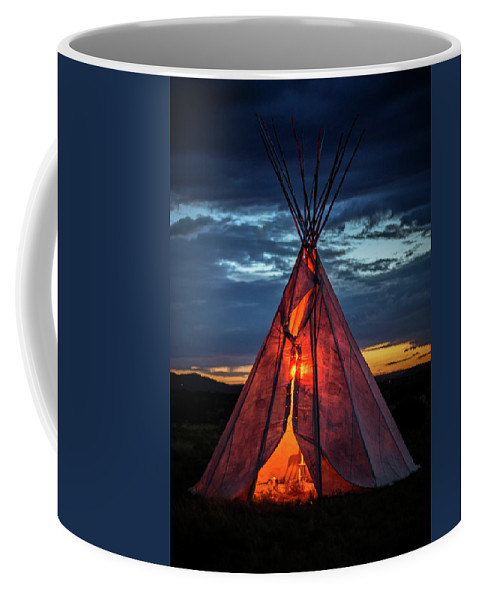 Southwest Coffee Mug featuring the photograph Southwestern Teepee Sunset by Enrique Navarro